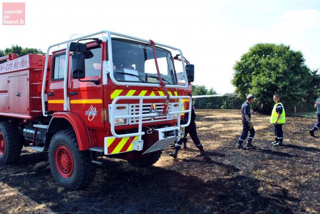 L'intervention des pompiers de Beaupréau et La Poitevinière hier au lieu-dit la Gastine.