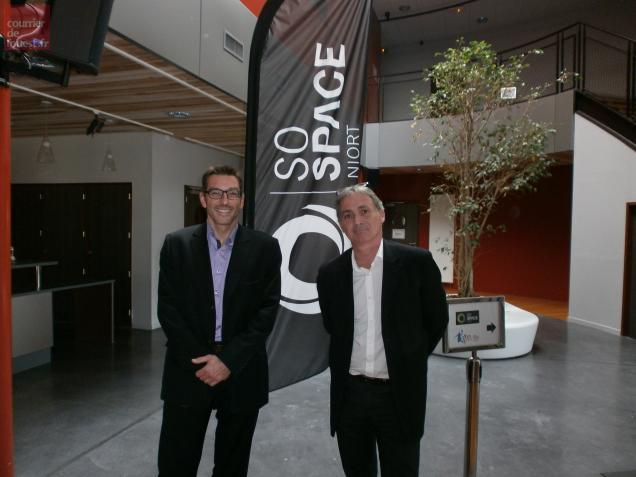 Jean-Philippe Javello (à gauche) avec Christophe Poirier, président-directeur général de la SO Space