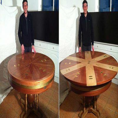 g tine il invente une table qui s 39 agrandit en quelques. Black Bedroom Furniture Sets. Home Design Ideas